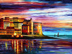 Italy - Beautiful Liguria by Leonid Afremov