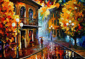 Fall Rain at night by Leonid Afremov