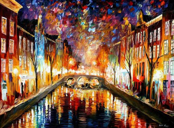 Night Amsterdam by Leonid Afremov by Leonidafremov
