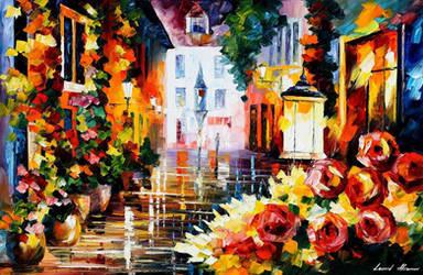 Street Of Flowers 2 by Leonid Afremov