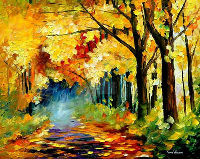 Fall In Forest by Leonid Afremov by Leonidafremov