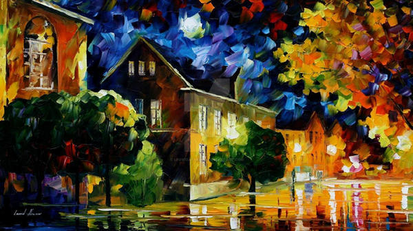Quiet Town by Leonid Afremov by Leonidafremov