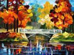 Fall bridge by Leonid Afremov