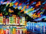 Portofino Harbor by Leonid Afremov