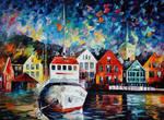 Boat In A Safe Haven by Leonid Afremov
