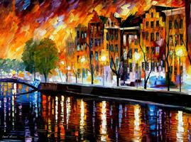 Amsterdam - winter reflection by Leonid Afremov