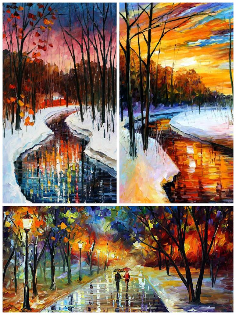 3 Winter Paintings by Leonidafremov
