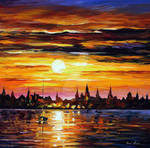 Sunset in Barcelona by Leonid Afremov