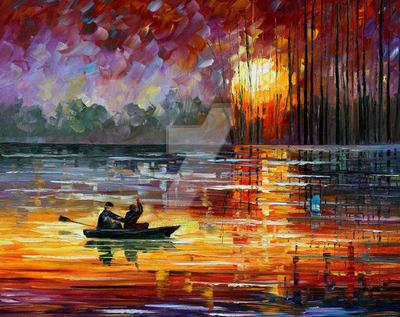 Night Fishing by Leonid Afremov by Leonidafremov