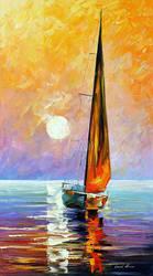 Gold Sailboat by Leonid Afremov