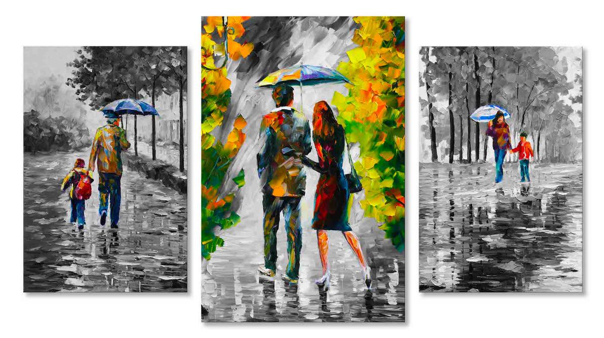 Under The Blue Umbrella - Set Of 3 by Leonidafremov