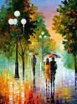 Evening Stroll Under The Rain by Leonid Afremov