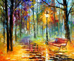 Red Bench by Leonid Afremov