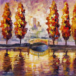 Trees By The River by Leonid Afremov