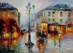 Evening Trolley On The Square by Leonid Afremov