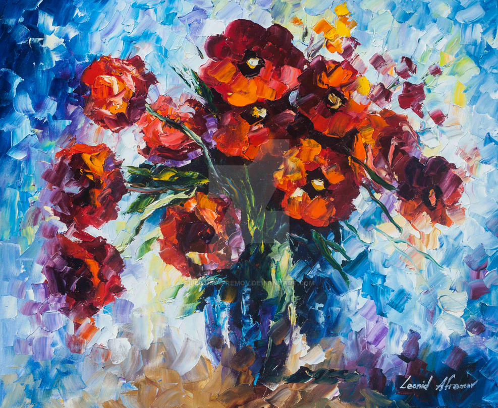 Red Flowers For Love by Leonid Afremov by Leonidafremov