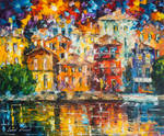Red House By The Shore by Leonid Afremov