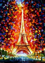 Eiffel Tower Lighted by Leonid Afremov