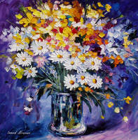 Colored Flowers by Leonid Afremov by Leonidafremov