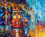 Rainy Trolley by Leonid Afremov