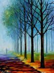 Blue Fog Lights by Leonid Afremov
