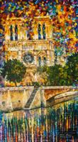 Notredame De Paris At Sienne River by L.Afremov