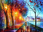 City By The Lake - Set Of 3 by Leonid Afremov