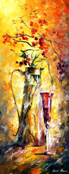 Flowers And Red Wine by Leonid Afremov
