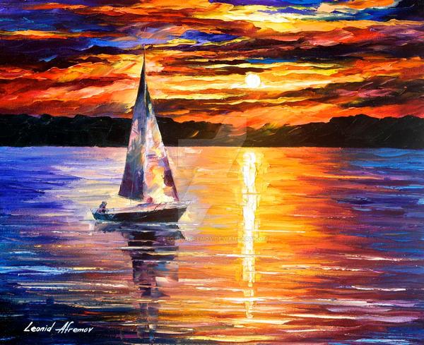 Sunset Over The Lake by Leonid Afremov