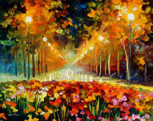 Alley Of Roses by Leonid Afremov