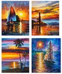 Set Of 4 My Most favorite Sea paintings