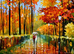 Autumn Rain In City Park by Leonid Afremov