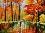 Autumn Rain In City Park by Leonid Afremov