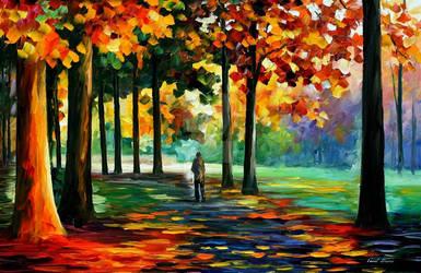 Orange Forest by Leonid Afremov