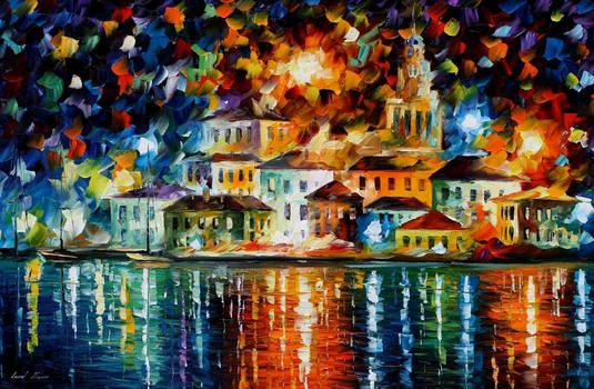 Magical Night Harbor by Leonid Afremov