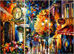 Caffe In The Old City - Set Of 3 by Leonid Afremov