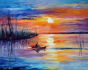 Lake Okeechobee - Sunset Fishing by Leonid Afremov