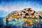 Morning In The Harbor by Afremov Studio