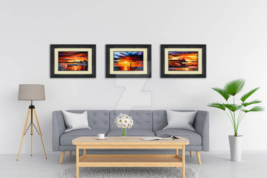Set Of 3 Framed Seascapes
