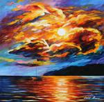Golden Evening Clouds by Afremov Studio