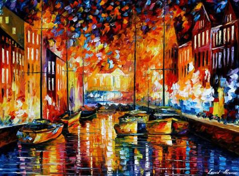 Copenhagen's Harbor Boats by Afremov Studio