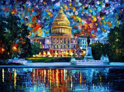 Capitol At Night Washington by Afremov Studio