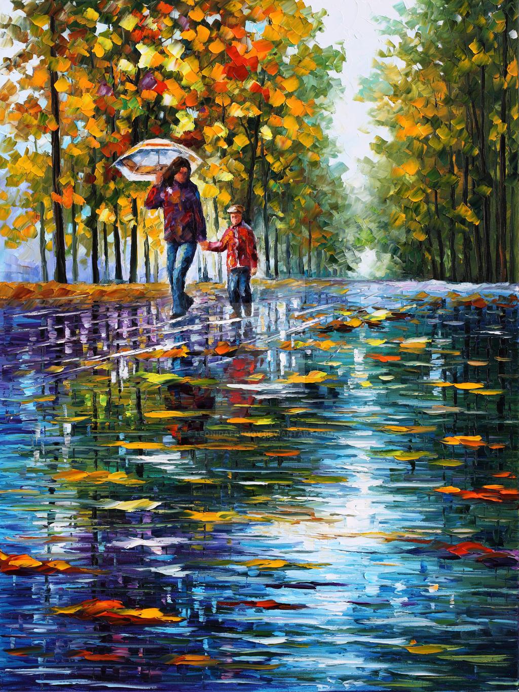 Stroll In Autumn Park by Leonid Afremov
