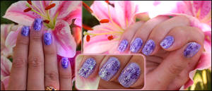 purple nail art on my friend by Tartofraises