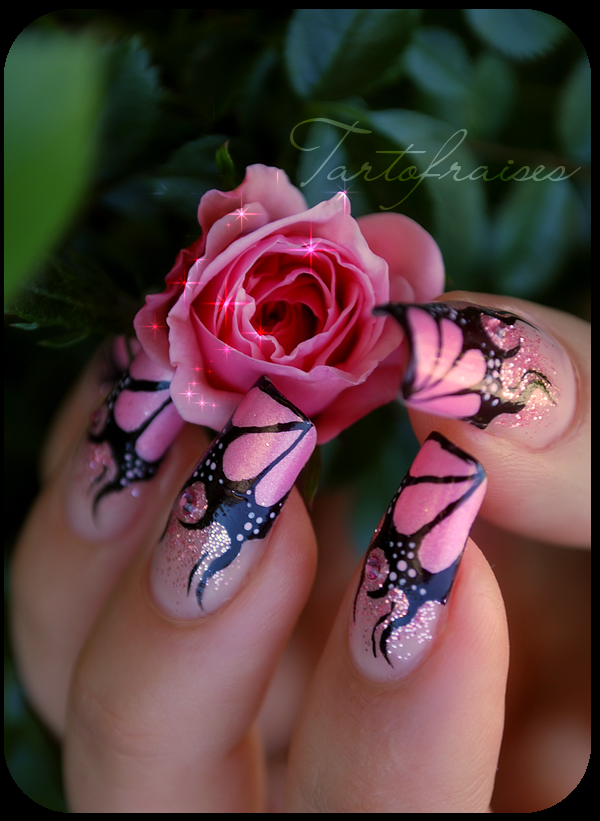 nail art pink flames by Tartofraises on DeviantArt