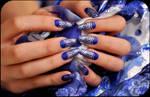 Royal blue and silver print