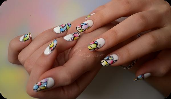watercolor nail art by Tartofraises