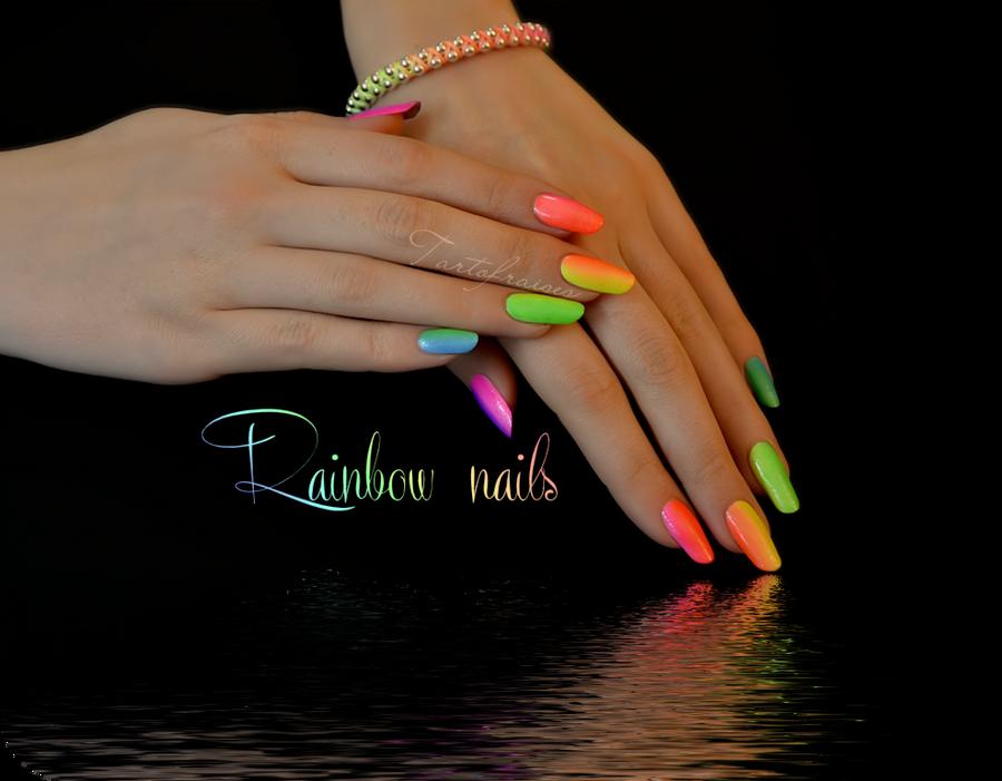 Rainbow manicure neon nails summer by Tartofraises on DeviantArt