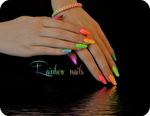 Rainbow manicure neon nails summer