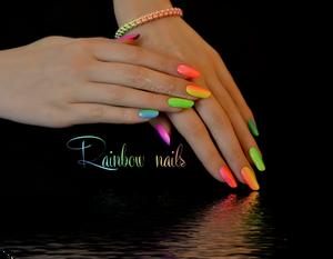 Rainbow manicure neon nails summer